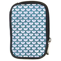 Scales3 White Marble & Teal Leather (r) Compact Camera Cases by trendistuff