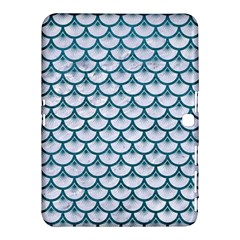 Scales3 White Marble & Teal Leather (r) Samsung Galaxy Tab 4 (10 1 ) Hardshell Case  by trendistuff
