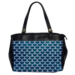Scales3 White Marble & Teal Leather Office Handbags by trendistuff