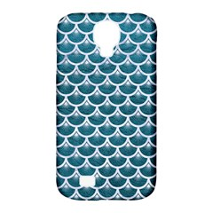 Scales3 White Marble & Teal Leather Samsung Galaxy S4 Classic Hardshell Case (pc+silicone) by trendistuff