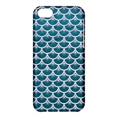 Scales3 White Marble & Teal Leather Apple Iphone 5c Hardshell Case by trendistuff