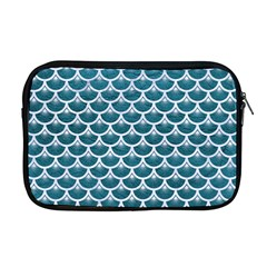 Scales3 White Marble & Teal Leather Apple Macbook Pro 17  Zipper Case by trendistuff