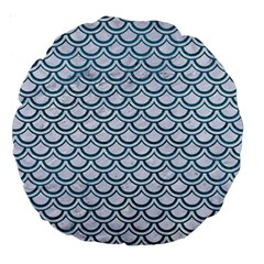 Scales2 White Marble & Teal Leather (r) Large 18  Premium Round Cushions by trendistuff