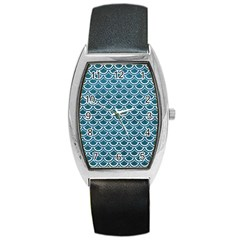 Scales2 White Marble & Teal Leather Barrel Style Metal Watch by trendistuff