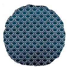 Scales2 White Marble & Teal Leather Large 18  Premium Round Cushions by trendistuff