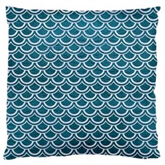 Scales2 White Marble & Teal Leather Large Flano Cushion Case (two Sides) by trendistuff