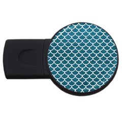 Scales1 White Marble & Teal Leather Usb Flash Drive Round (4 Gb) by trendistuff