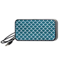 Scales1 White Marble & Teal Leather Portable Speaker by trendistuff