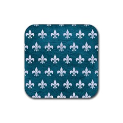 Royal1 White Marble & Teal Leather (r) Rubber Square Coaster (4 Pack)  by trendistuff