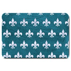 Royal1 White Marble & Teal Leather (r) Large Doormat  by trendistuff