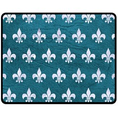 Royal1 White Marble & Teal Leather (r) Fleece Blanket (medium)  by trendistuff