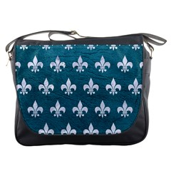 Royal1 White Marble & Teal Leather (r) Messenger Bags by trendistuff