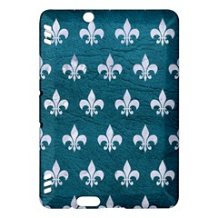 Royal1 White Marble & Teal Leather (r) Kindle Fire Hdx Hardshell Case by trendistuff