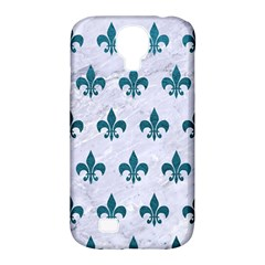 Royal1 White Marble & Teal Leather Samsung Galaxy S4 Classic Hardshell Case (pc+silicone) by trendistuff