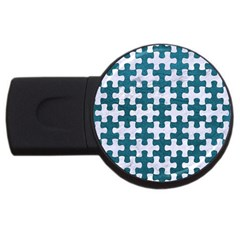 Puzzle1 White Marble & Teal Leather Usb Flash Drive Round (4 Gb) by trendistuff