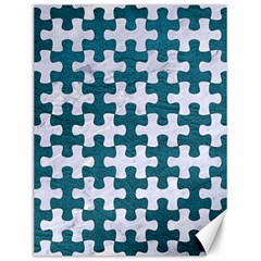 Puzzle1 White Marble & Teal Leather Canvas 12  X 16   by trendistuff