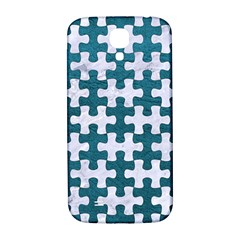 Puzzle1 White Marble & Teal Leather Samsung Galaxy S4 I9500/i9505  Hardshell Back Case by trendistuff