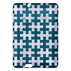Puzzle1 White Marble & Teal Leather Kindle Fire Hdx Hardshell Case by trendistuff