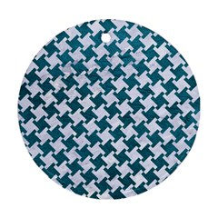 Houndstooth2 White Marble & Teal Leather Round Ornament (two Sides) by trendistuff