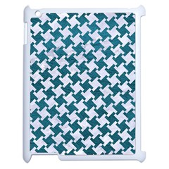 Houndstooth2 White Marble & Teal Leather Apple Ipad 2 Case (white) by trendistuff