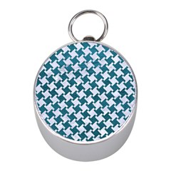 Houndstooth2 White Marble & Teal Leather Mini Silver Compasses by trendistuff