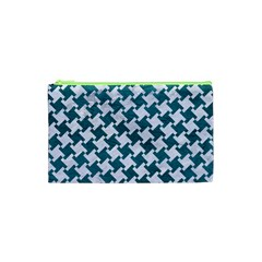 Houndstooth2 White Marble & Teal Leather Cosmetic Bag (xs) by trendistuff