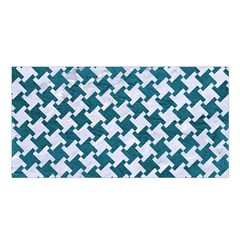 Houndstooth2 White Marble & Teal Leather Satin Shawl by trendistuff