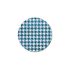 Houndstooth1 White Marble & Teal Leather Golf Ball Marker by trendistuff