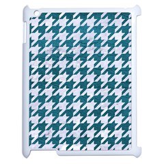 Houndstooth1 White Marble & Teal Leather Apple Ipad 2 Case (white) by trendistuff