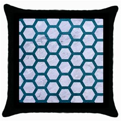 Hexagon2 White Marble & Teal Leather (r) Throw Pillow Case (black) by trendistuff