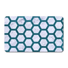 Hexagon2 White Marble & Teal Leather (r) Magnet (rectangular) by trendistuff