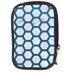 Hexagon2 White Marble & Teal Leather (r) Compact Camera Cases by trendistuff