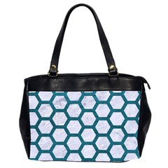 Hexagon2 White Marble & Teal Leather (r) Office Handbags (2 Sides)  by trendistuff