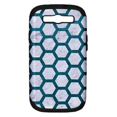 Hexagon2 White Marble & Teal Leather (r) Samsung Galaxy S Iii Hardshell Case (pc+silicone) by trendistuff