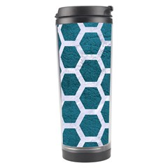 Hexagon2 White Marble & Teal Leather Travel Tumbler by trendistuff