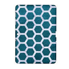Hexagon2 White Marble & Teal Leather Samsung Galaxy Tab 2 (10 1 ) P5100 Hardshell Case  by trendistuff