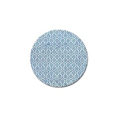 Hexagon1 White Marble & Teal Leather (r) Golf Ball Marker by trendistuff