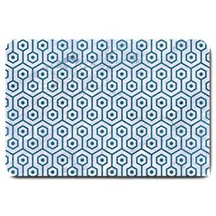 Hexagon1 White Marble & Teal Leather (r) Large Doormat  by trendistuff