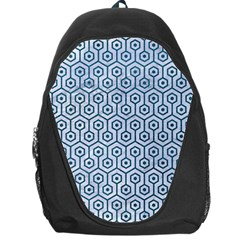 Hexagon1 White Marble & Teal Leather (r) Backpack Bag by trendistuff
