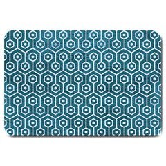 Hexagon1 White Marble & Teal Leather Large Doormat  by trendistuff
