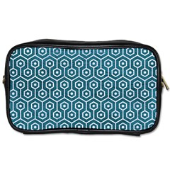 Hexagon1 White Marble & Teal Leather Toiletries Bags 2 Side by trendistuff