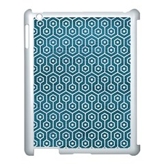 Hexagon1 White Marble & Teal Leather Apple Ipad 3/4 Case (white) by trendistuff