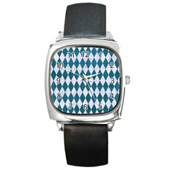 Diamond1 White Marble & Teal Leather Square Metal Watch by trendistuff