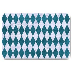 Diamond1 White Marble & Teal Leather Large Doormat  by trendistuff