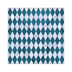 Diamond1 White Marble & Teal Leather Acrylic Tangram Puzzle (6  X 6 ) by trendistuff