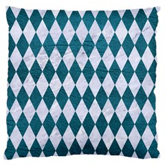 Diamond1 White Marble & Teal Leather Standard Flano Cushion Case (one Side) by trendistuff