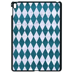 Diamond1 White Marble & Teal Leather Apple Ipad Pro 9 7   Black Seamless Case by trendistuff