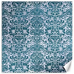 Damask2 White Marble & Teal Leather (r) Canvas 12  X 12   by trendistuff