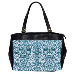 Damask2 White Marble & Teal Leather (r) Office Handbags (2 Sides)  by trendistuff