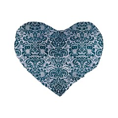 Damask2 White Marble & Teal Leather (r) Standard 16  Premium Heart Shape Cushions by trendistuff